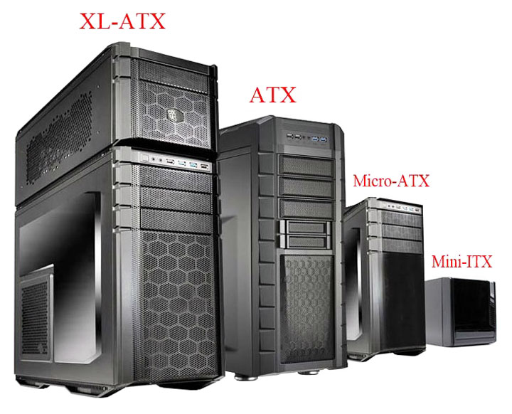 Форм-фактор системного блока (корпуса): mini-tower, midi-tower, big-tower; XL-ATX, ATX, microATX, flexATX, mini-ITX